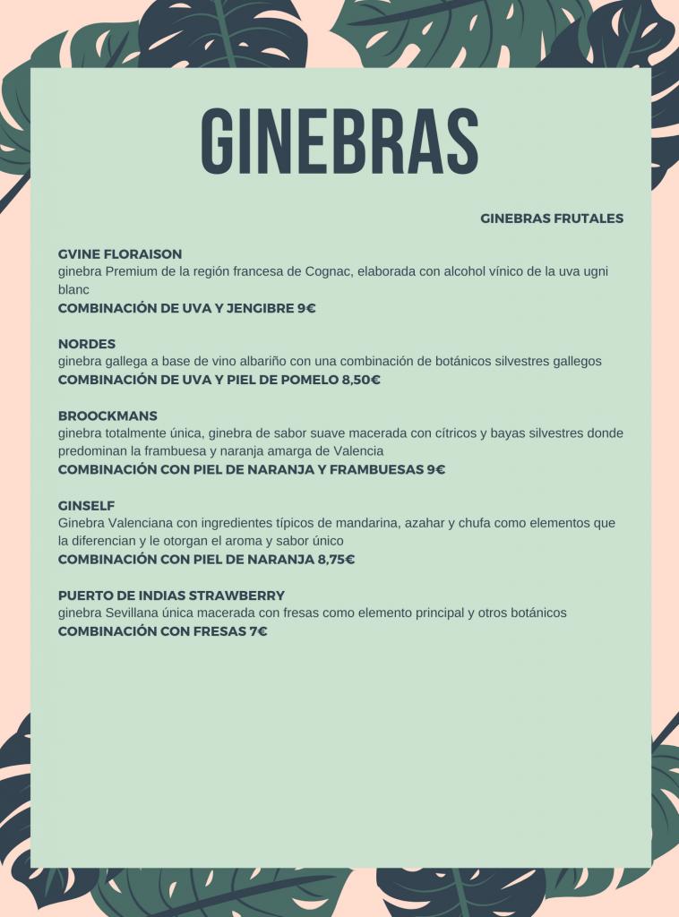 CARTA DE BEBIDAS, CÓCTELES Y COMBINADOS